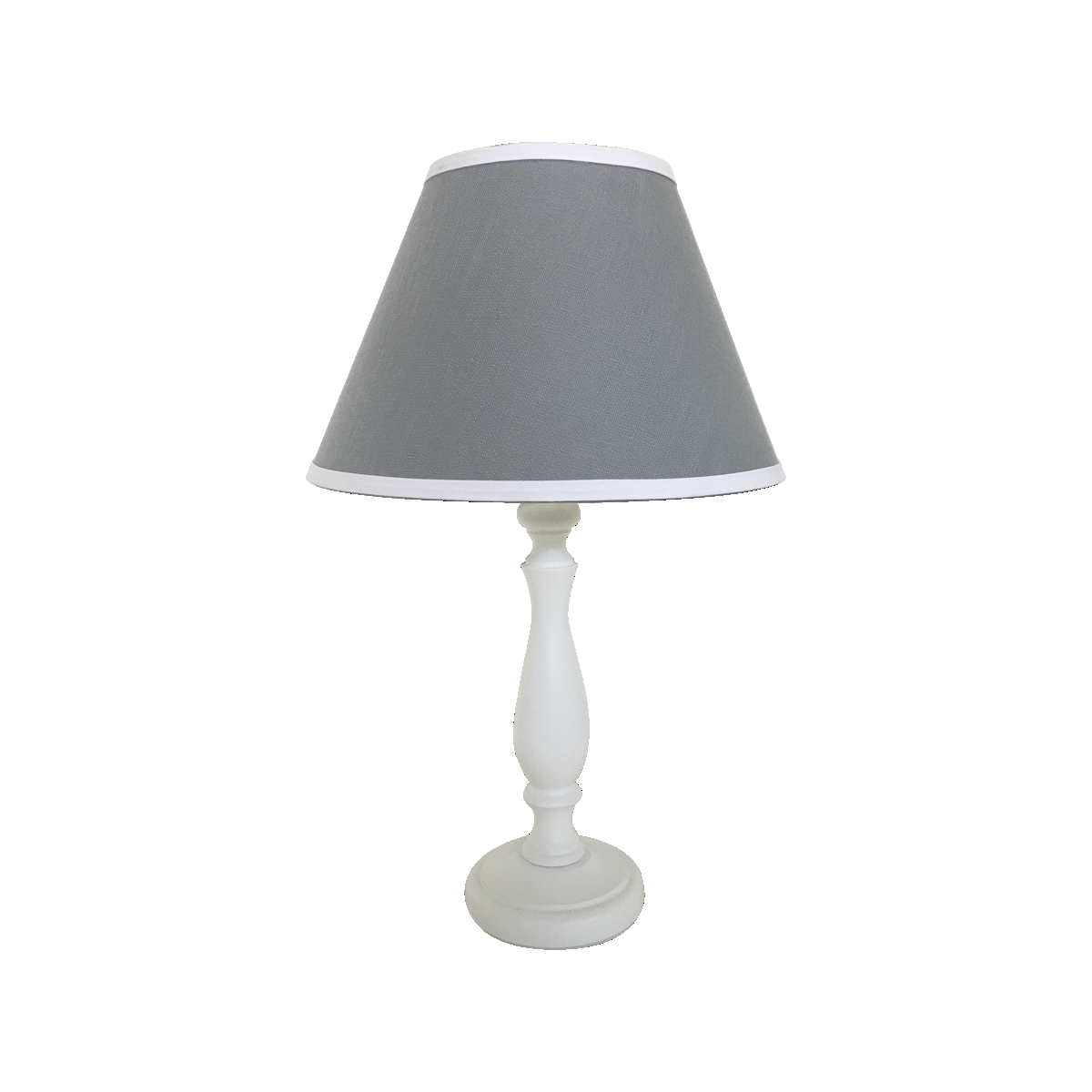 Bedside Lamp White Base W Grey Shade Steal The Limelight